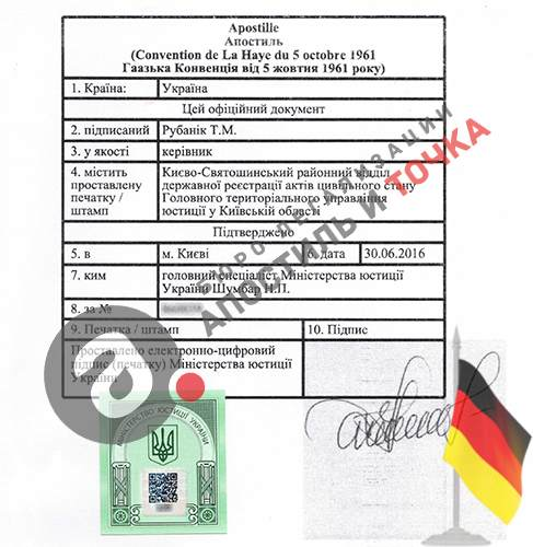 Apostille of Ministry of Justice for Germany